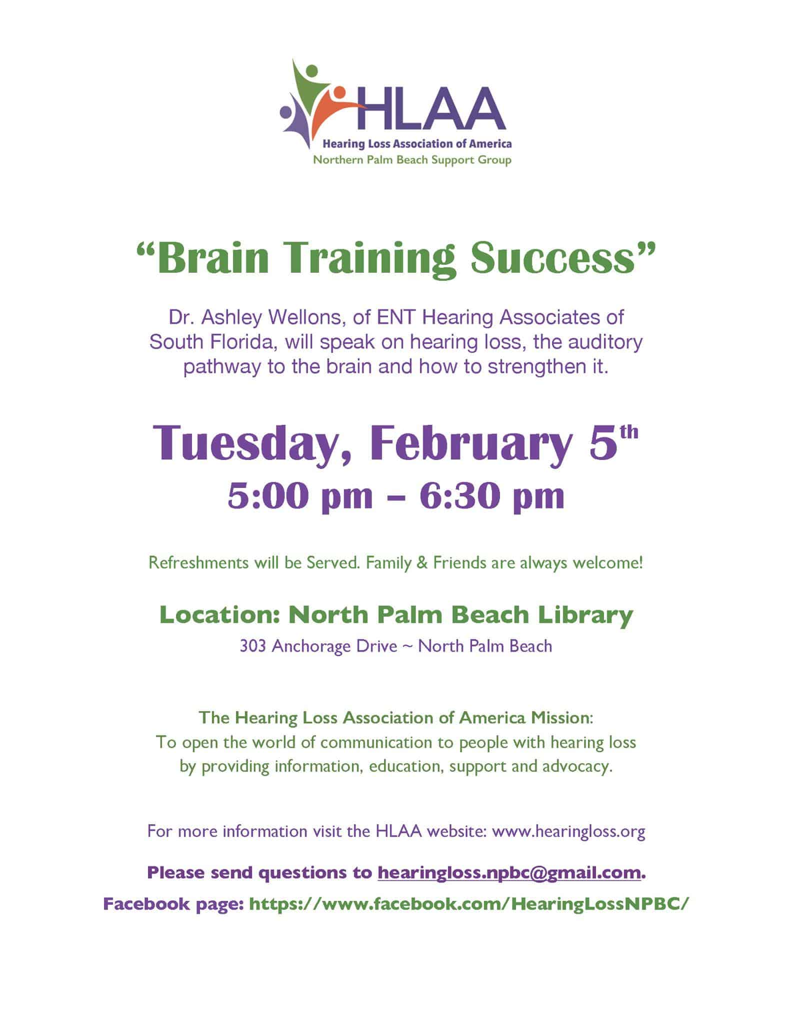 """Hearing Loss Association of America Northern Palm Beach Support Group """"Brain Training Success"""" Dr. Ashley Wellons, of ENT Hearing Associates of South Florida"""